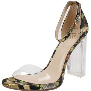 Shoes - Black Open Toe Clear Strap Embroidery Clear Heel